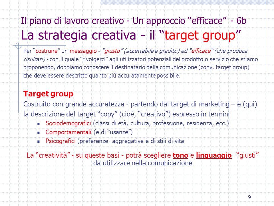 9 Il piano di lavoro creativo - Un approccio efficace - 6b La strategia creativa - il target group Per costruire un messaggio - giusto (accettabile e gradito) ed efficace (che produca risultati) - con il quale rivolgerci agli utilizzatori potenziali del prodotto o servizio che stiamo proponendo, dobbiamo conoscere il destinatario della comunicazione (conv.