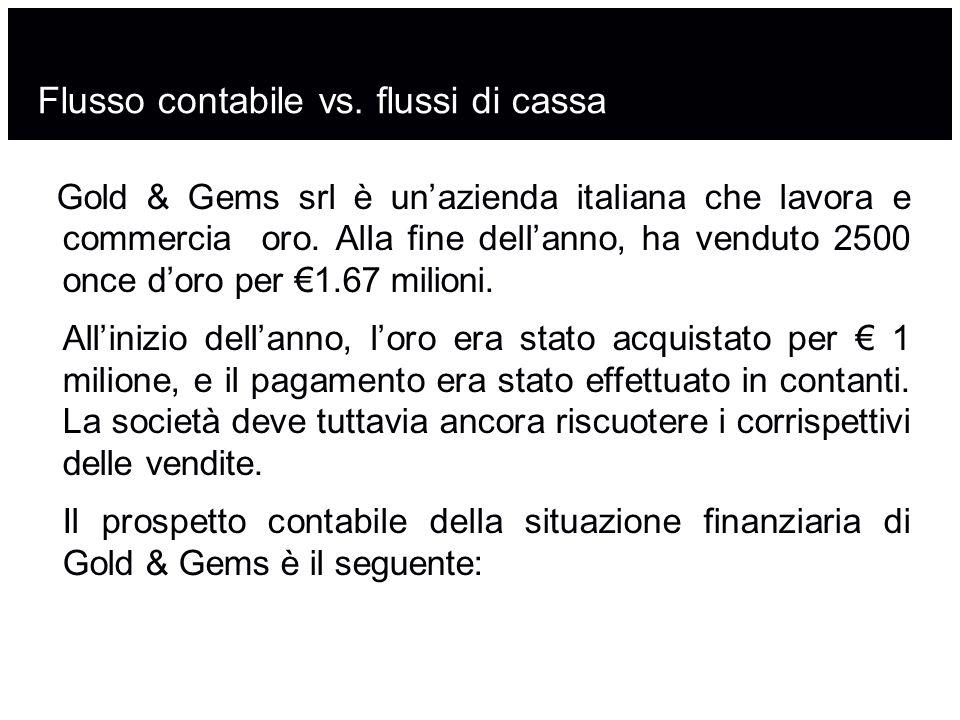 Flusso contabile vs. flussi di cassa Gold & Gems srl è un'azienda italiana che lavora e commercia oro. Alla fine dell'anno, ha venduto 2500 once d'oro