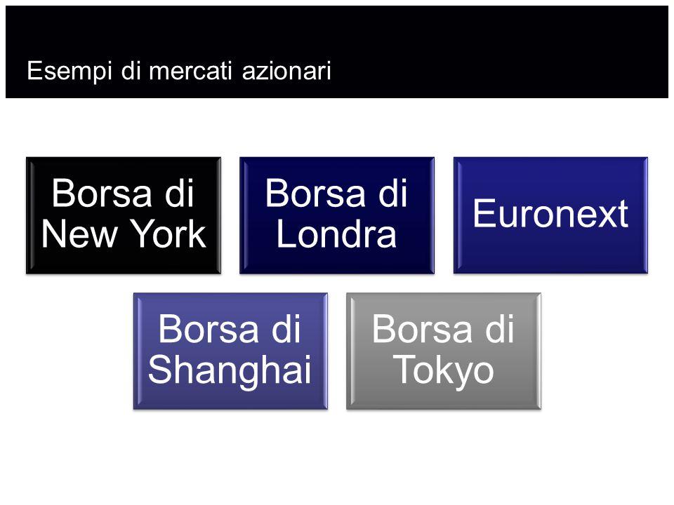 Esempi di mercati azionari Borsa di New York Borsa di Londra Euronext Borsa di Shanghai Borsa di Tokyo