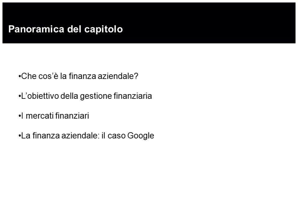 Panoramica del capitolo Che cos'è la finanza aziendale? L'obiettivo della gestione finanziaria I mercati finanziari La finanza aziendale: il caso Goog
