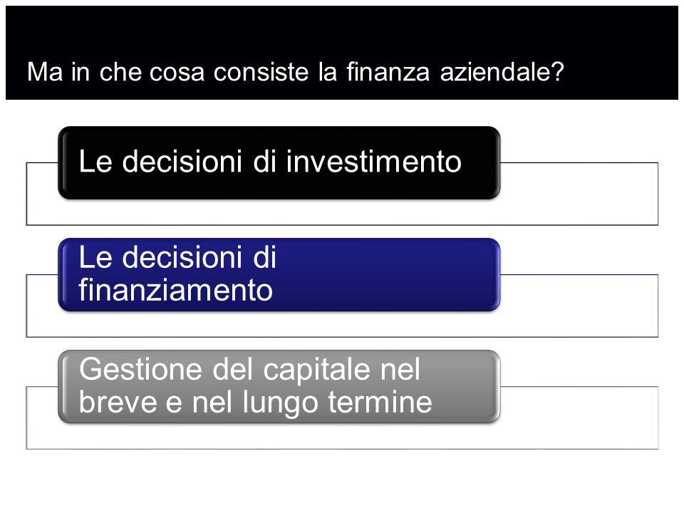 Ma in che cosa consiste la finanza aziendale? Le decisioni di investimento Le decisioni di finanziamento Gestione del capitale nel breve e nel lungo t