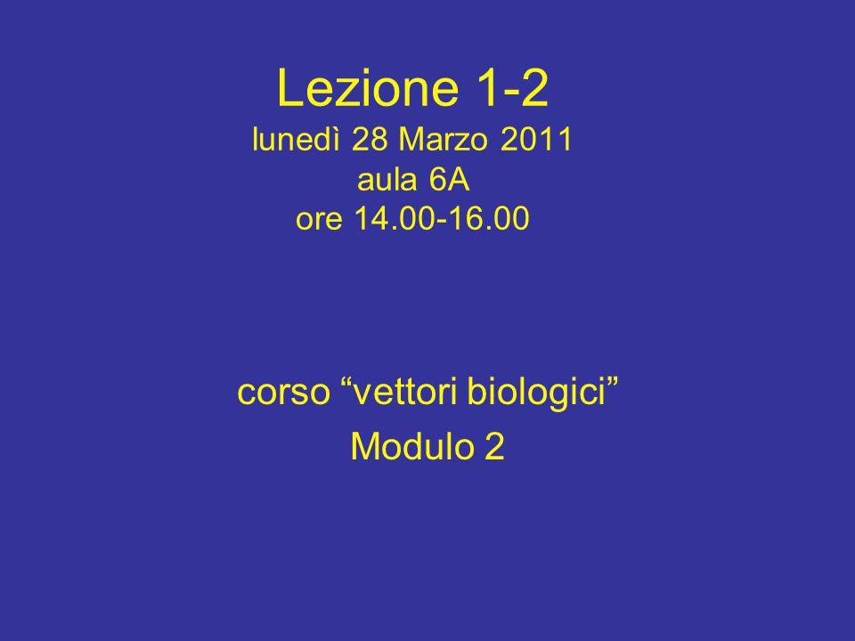 """Lezione 1-2 lunedì 28 Marzo 2011 aula 6A ore 14.00-16.00 corso """"vettori biologici"""" Modulo 2"""