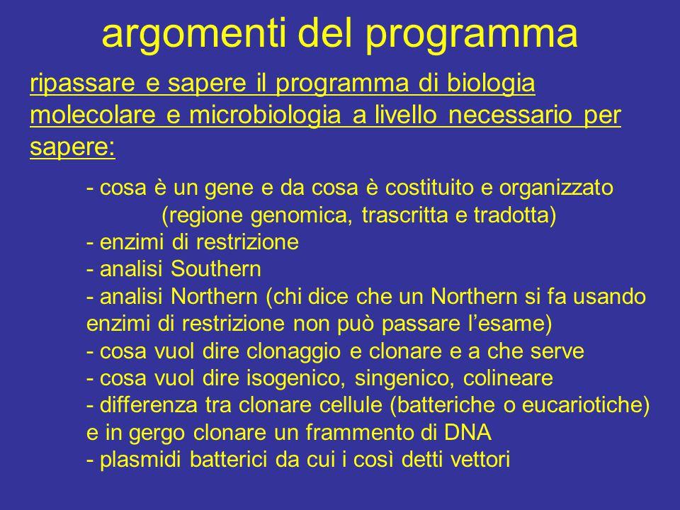 argomenti del programma ripassare e sapere il programma di biologia molecolare e microbiologia a livello necessario per sapere: - cosa è un gene e da