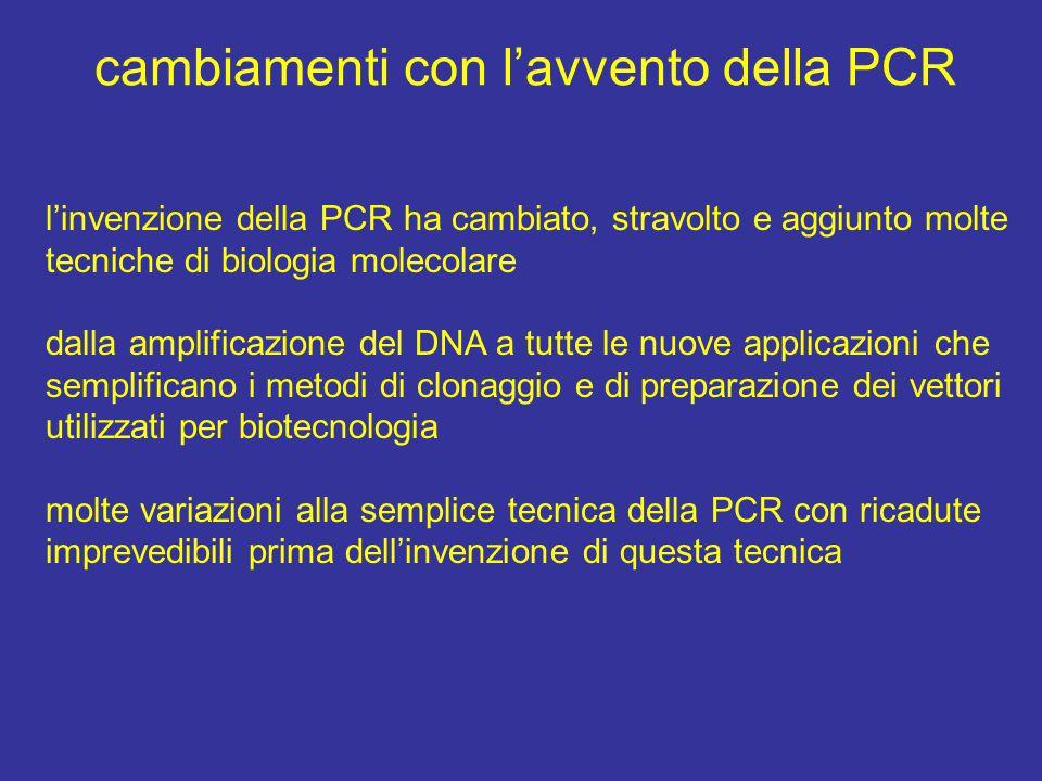 cambiamenti con l'avvento della PCR l'invenzione della PCR ha cambiato, stravolto e aggiunto molte tecniche di biologia molecolare dalla amplificazion