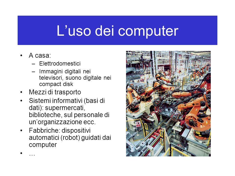 L'uso dei computer A casa: –Elettrodomestici –Immagini digitali nei televisori, suono digitale nei compact disk Mezzi di trasporto Sistemi informativi