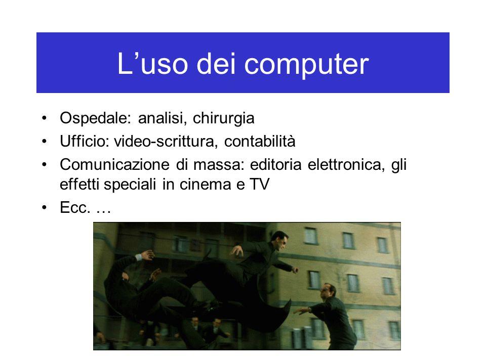 L'uso dei computer Ospedale: analisi, chirurgia Ufficio: video-scrittura, contabilità Comunicazione di massa: editoria elettronica, gli effetti specia