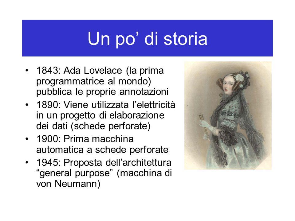 Un po' di storia 1843: Ada Lovelace (la prima programmatrice al mondo) pubblica le proprie annotazioni 1890: Viene utilizzata l'elettricità in un prog