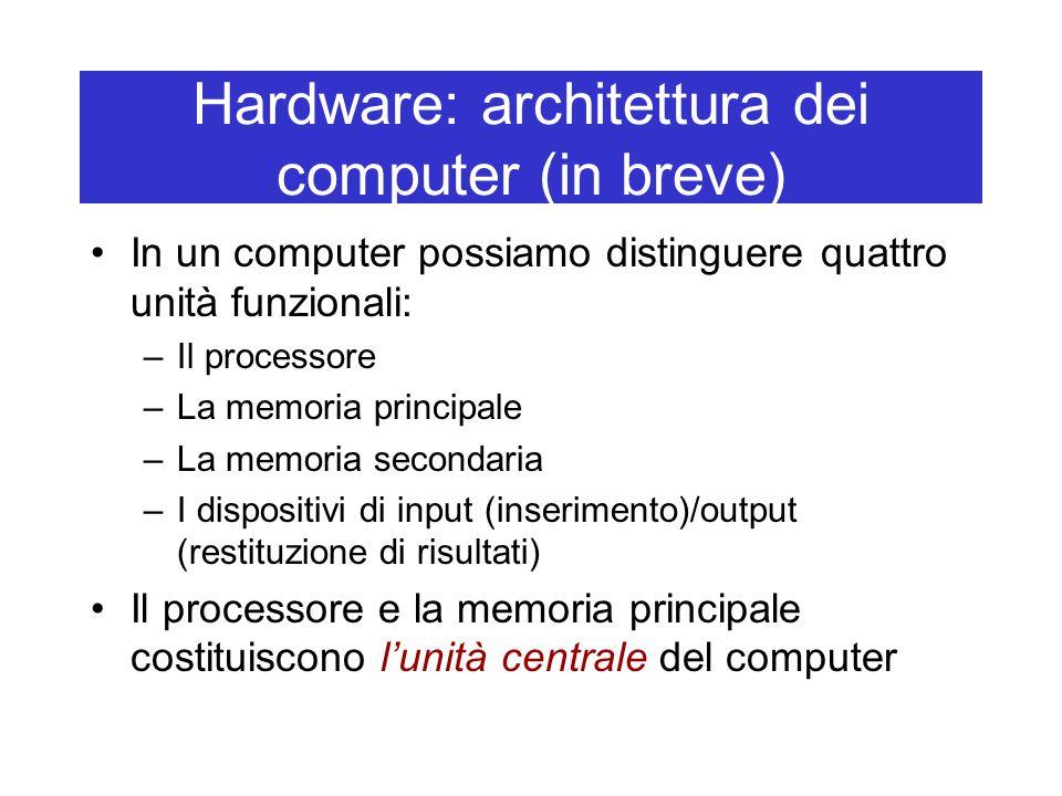 Hardware: architettura dei computer (in breve) In un computer possiamo distinguere quattro unità funzionali: –Il processore –La memoria principale –La