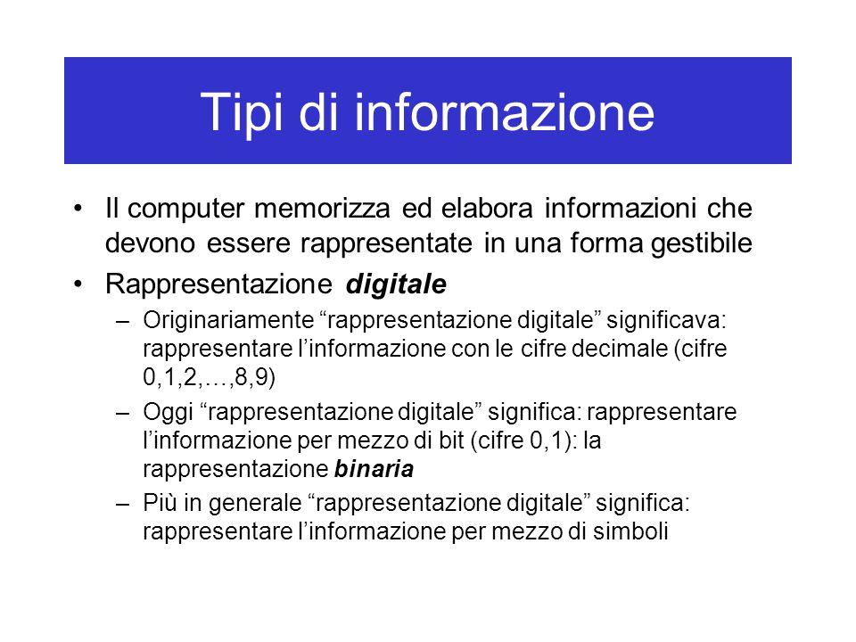 Tipi di informazione Il computer memorizza ed elabora informazioni che devono essere rappresentate in una forma gestibile Rappresentazione digitale –O