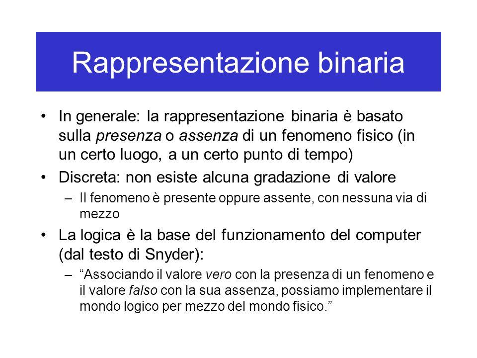 Rappresentazione binaria In generale: la rappresentazione binaria è basato sulla presenza o assenza di un fenomeno fisico (in un certo luogo, a un cer
