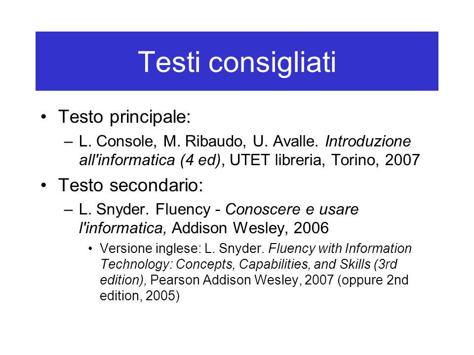 Testi consigliati Testo principale: –L. Console, M. Ribaudo, U. Avalle. Introduzione all'informatica (4 ed), UTET libreria, Torino, 2007 Testo seconda