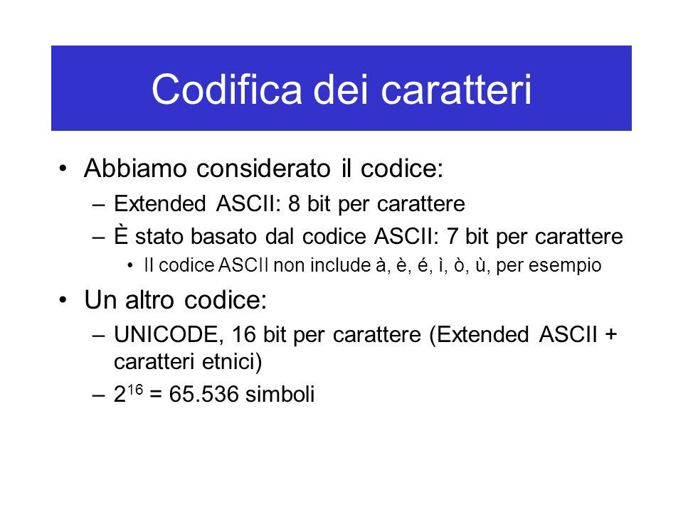 Codifica dei caratteri Abbiamo considerato il codice: –Extended ASCII: 8 bit per carattere –È stato basato dal codice ASCII: 7 bit per carattere Il co