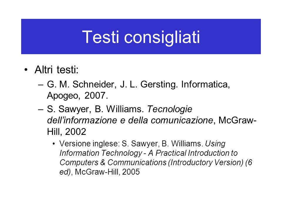 Testi consigliati Altri testi: –G. M. Schneider, J. L. Gersting. Informatica, Apogeo, 2007. –S. Sawyer, B. Williams. Tecnologie dell'informazione e de