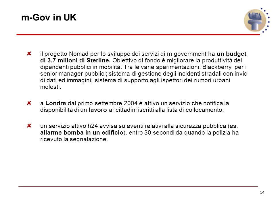 14 m-Gov in UK il progetto Nomad per lo sviluppo dei servizi di m-government ha un budget di 3,7 milioni di Sterline.