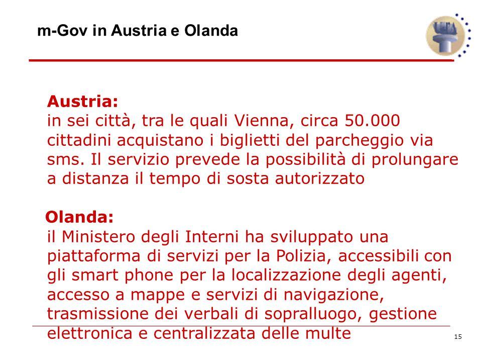 15 m-Gov in Austria e Olanda Austria: in sei città, tra le quali Vienna, circa 50.000 cittadini acquistano i biglietti del parcheggio via sms.