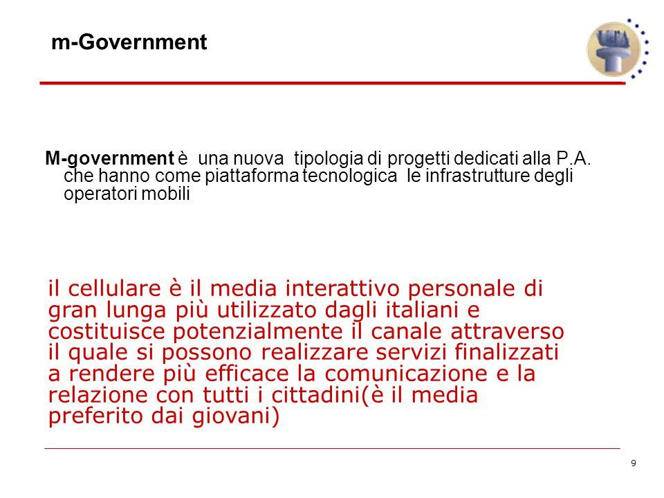 9 m-Government M-government è una nuova tipologia di progetti dedicati alla P.A.