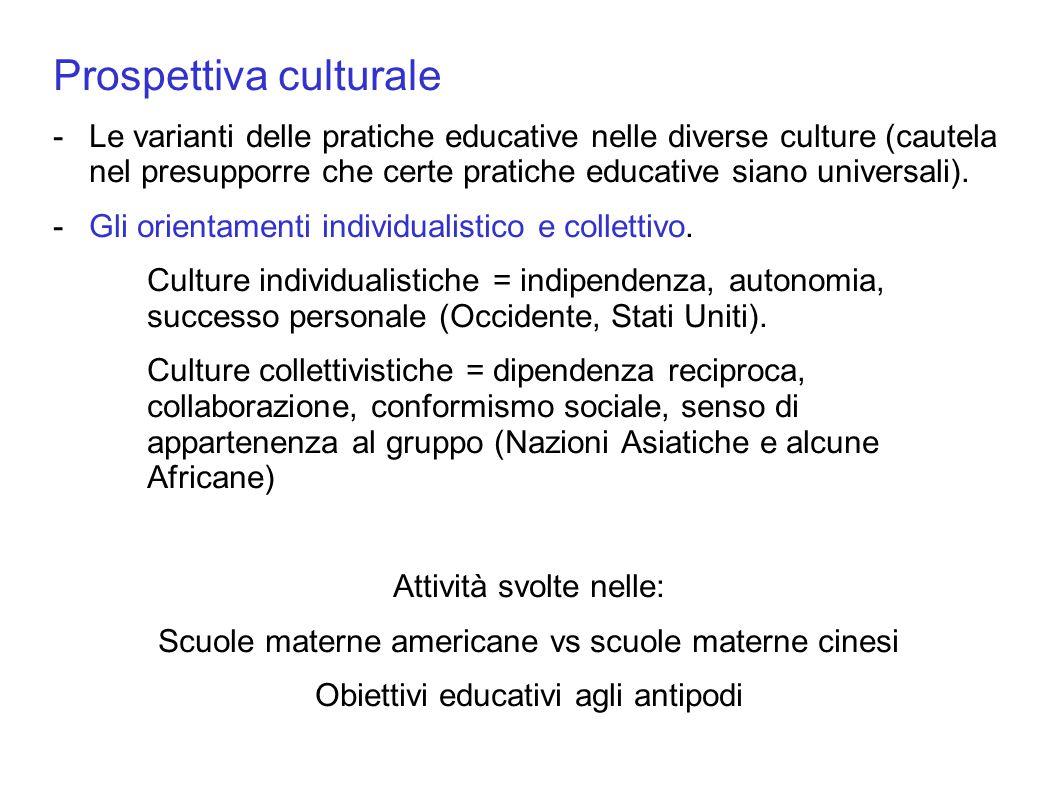 Prospettiva culturale -Le varianti delle pratiche educative nelle diverse culture (cautela nel presupporre che certe pratiche educative siano universa
