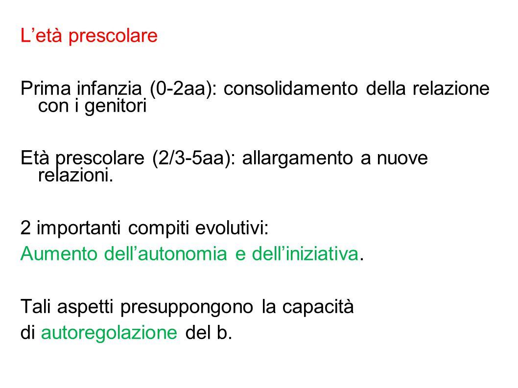 L'età prescolare Prima infanzia (0-2aa): consolidamento della relazione con i genitori Età prescolare (2/3-5aa): allargamento a nuove relazioni. 2 imp