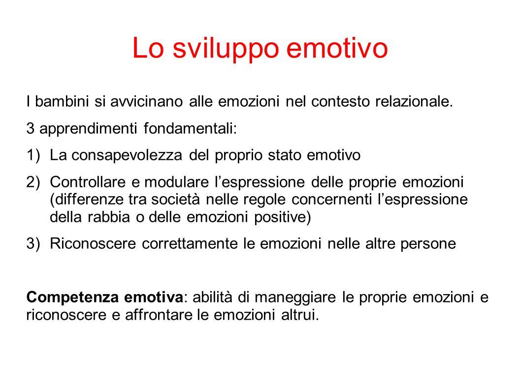 Lo sviluppo emotivo I bambini si avvicinano alle emozioni nel contesto relazionale. 3 apprendimenti fondamentali: 1)La consapevolezza del proprio stat