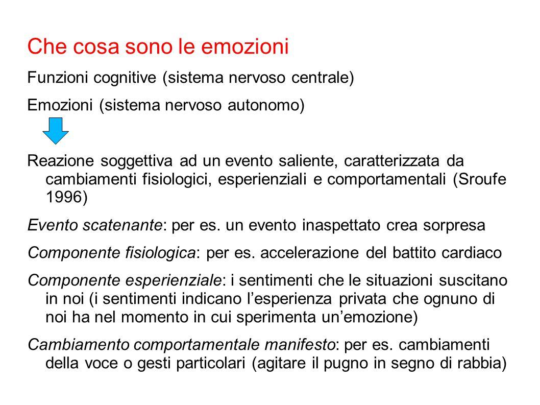 Che cosa sono le emozioni Funzioni cognitive (sistema nervoso centrale) Emozioni (sistema nervoso autonomo) Reazione soggettiva ad un evento saliente,
