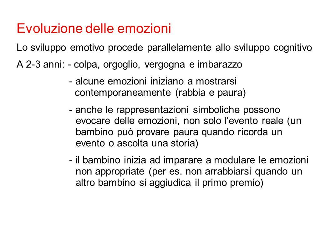 Evoluzione delle emozioni Lo sviluppo emotivo procede parallelamente allo sviluppo cognitivo A 2-3 anni: - colpa, orgoglio, vergogna e imbarazzo - alc