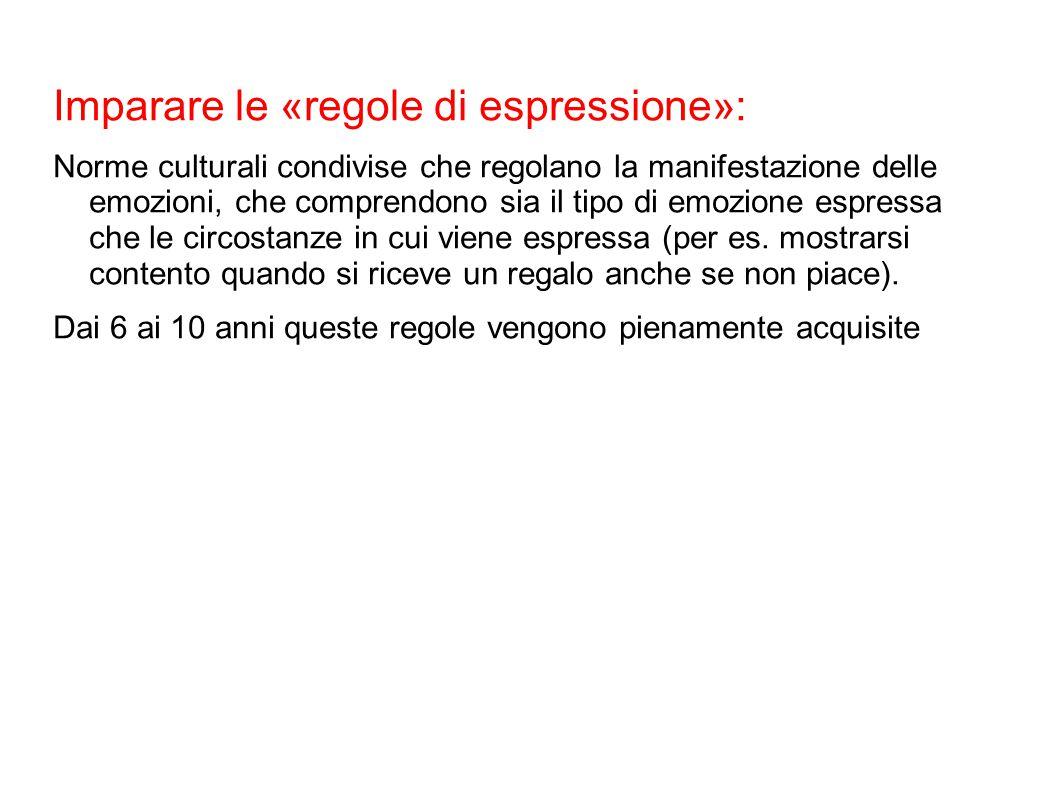 Imparare le «regole di espressione»: Norme culturali condivise che regolano la manifestazione delle emozioni, che comprendono sia il tipo di emozione