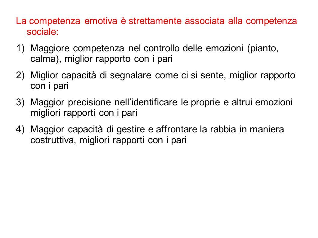 La competenza emotiva è strettamente associata alla competenza sociale: 1)Maggiore competenza nel controllo delle emozioni (pianto, calma), miglior ra