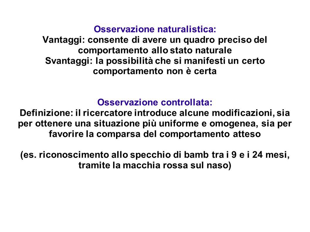Osservazione naturalistica: Vantaggi: consente di avere un quadro preciso del comportamento allo stato naturale Svantaggi: la possibilità che si manif