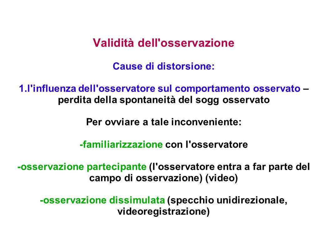 Validità dell'osservazione Cause di distorsione: 1.l'influenza dell'osservatore sul comportamento osservato – perdita della spontaneità del sogg osser