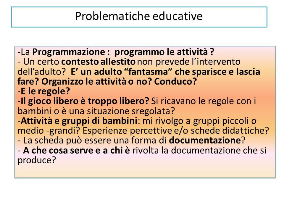 Problematiche educative -La Programmazione : programmo le attività .