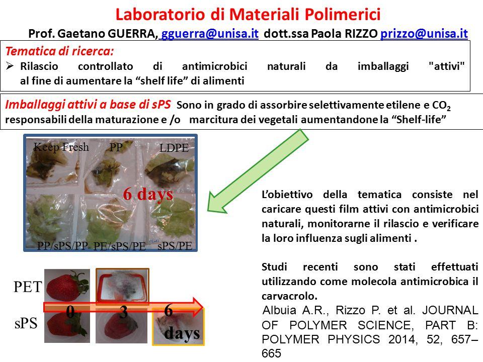 Laboratorio di Materiali Polimerici Prof. Gaetano GUERRA, gguerra@unisa.it dott.ssa Paola RIZZO prizzo@unisa.it gguerra@unisa.itprizzo@unisa.it Temati