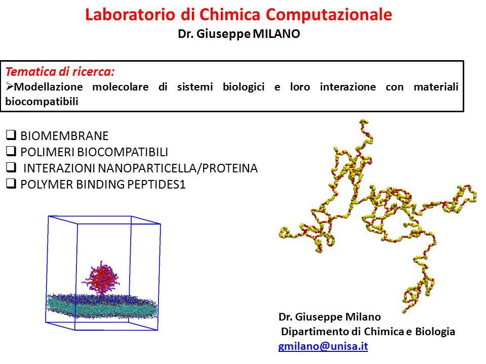 Laboratorio di Chimica Computazionale Dr. Giuseppe MILANO Tematica di ricerca:  Modellazione molecolare di sistemi biologici e loro interazione con m