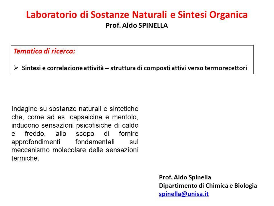 Laboratorio di Sostanze Naturali e Sintesi Organica Prof. Aldo SPINELLA Tematica di ricerca:  Sintesi e correlazione attività – struttura di composti