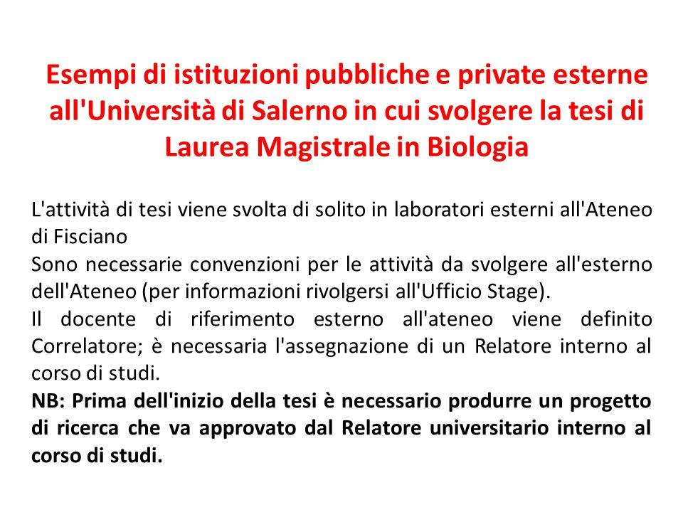 Esempi di istituzioni pubbliche e private esterne all'Università di Salerno in cui svolgere la tesi di Laurea Magistrale in Biologia L'attività di tes