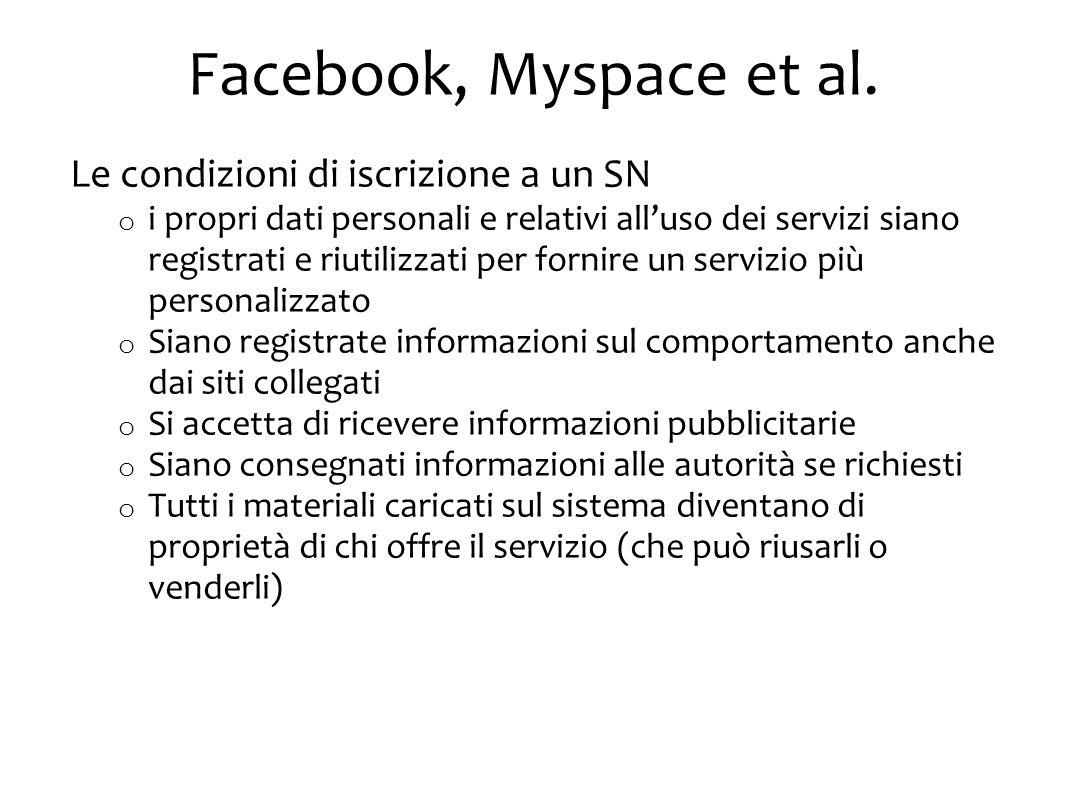 Facebook, Myspace et al.
