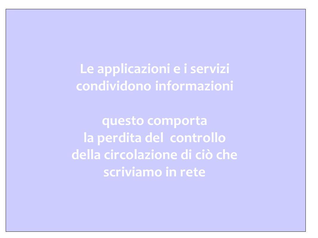 Le applicazioni e i servizi condividono informazioni questo comporta la perdita del controllo della circolazione di ciò che scriviamo in rete