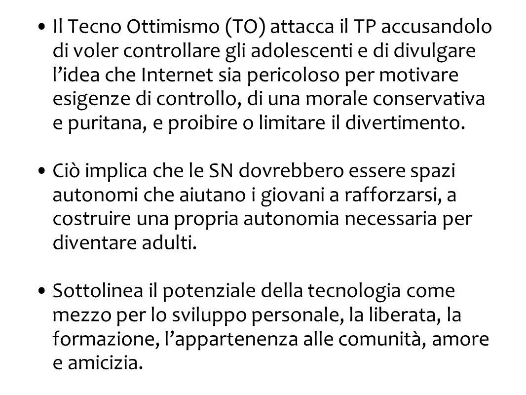 Il Tecno Ottimismo (TO) attacca il TP accusandolo di voler controllare gli adolescenti e di divulgare l'idea che Internet sia pericoloso per motivare esigenze di controllo, di una morale conservativa e puritana, e proibire o limitare il divertimento.