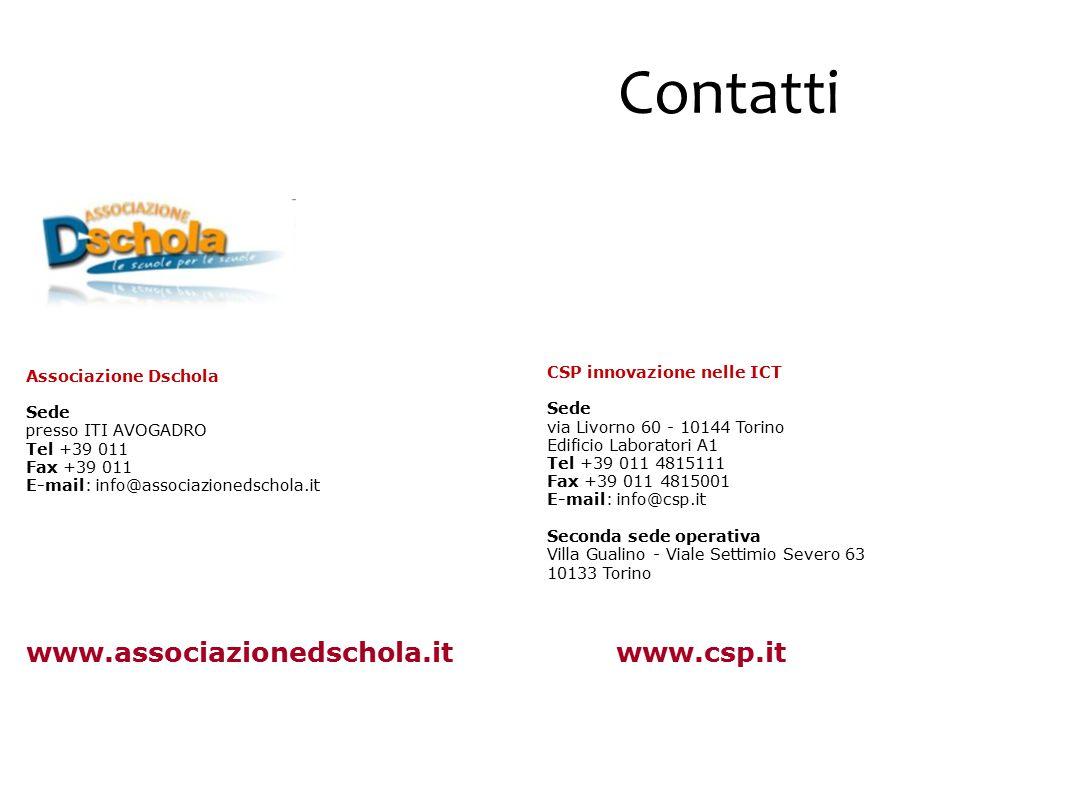 Contatti CSP innovazione nelle ICT Sede via Livorno 60 - 10144 Torino Edificio Laboratori A1 Tel +39 011 4815111 Fax +39 011 4815001 E-mail: info@csp.it Seconda sede operativa Villa Gualino - Viale Settimio Severo 63 10133 Torino www.csp.it Associazione Dschola Sede presso ITI AVOGADRO Tel +39 011 Fax +39 011 E-mail: info@associazionedschola.it www.associazionedschola.it