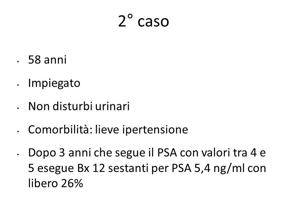 58 anni Impiegato Non disturbi urinari Comorbilità: lieve ipertensione Dopo 3 anni che segue il PSA con valori tra 4 e 5 esegue Bx 12 sestanti per PSA 5,4 ng/ml con libero 26% 2° caso