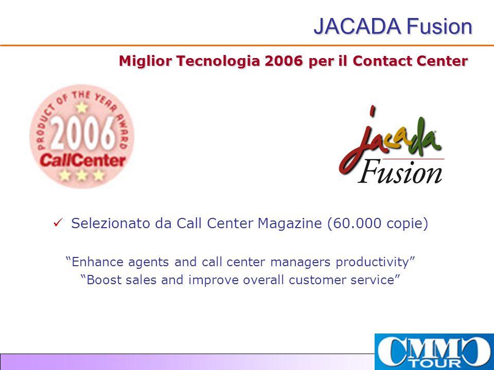 """Miglior Tecnologia 2006 per il Contact Center Selezionato da Call Center Magazine (60.000 copie) """"Enhance agents and call center managers productivity"""