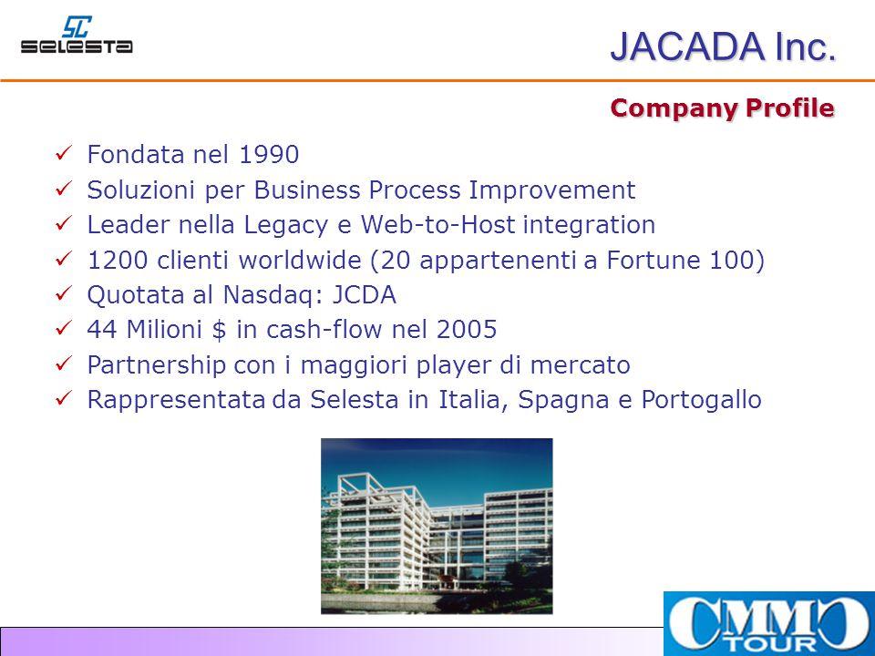 Company Profile Fondata nel 1990 Soluzioni per Business Process Improvement Leader nella Legacy e Web-to-Host integration 1200 clienti worldwide (20 appartenenti a Fortune 100) Quotata al Nasdaq: JCDA 44 Milioni $ in cash-flow nel 2005 Partnership con i maggiori player di mercato Rappresentata da Selesta in Italia, Spagna e Portogallo JACADA Inc.