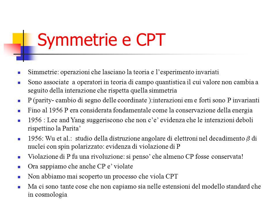 Symmetrie e CPT Simmetrie: operazioni che lasciano la teoria e l'esperimento invariati Sono associate a operatori in teoria di campo quantistica il cu