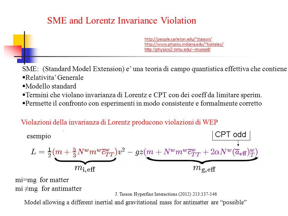 SME and Lorentz Invariance Violation http://people.carleton.edu/~jtasson/ http://www.physics.indiana.edu/~kostelec/ http://physics2.nmu.edu/~nrussell/