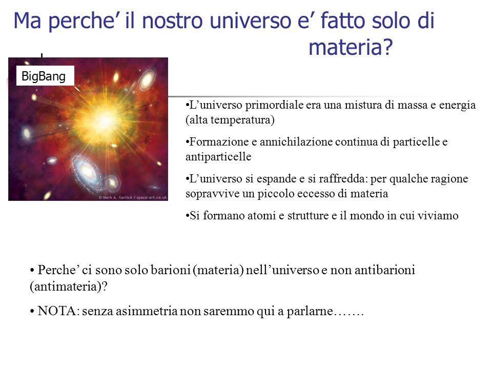 Ma perche' il nostro universo e' fatto solo di materia? L'universo primordiale era una mistura di massa e energia (alta temperatura) Formazione e anni