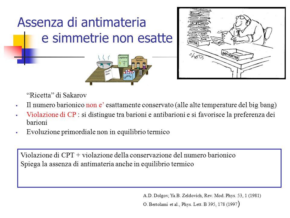 """Assenza di antimateria e simmetrie non esatte """"Ricetta"""" di Sakarov  Il numero barionico non e' esattamente conservato (alle alte temperature del big"""