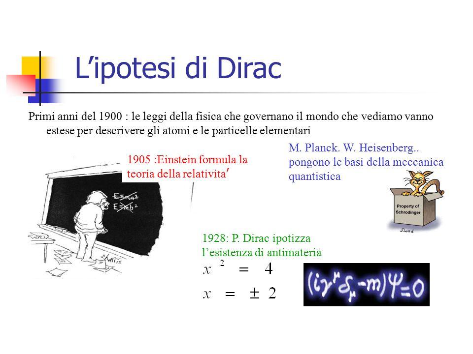 Breve storia della antimateria 1928 P.Dirac prevede l'esistenza di antimateria 1932 : C.