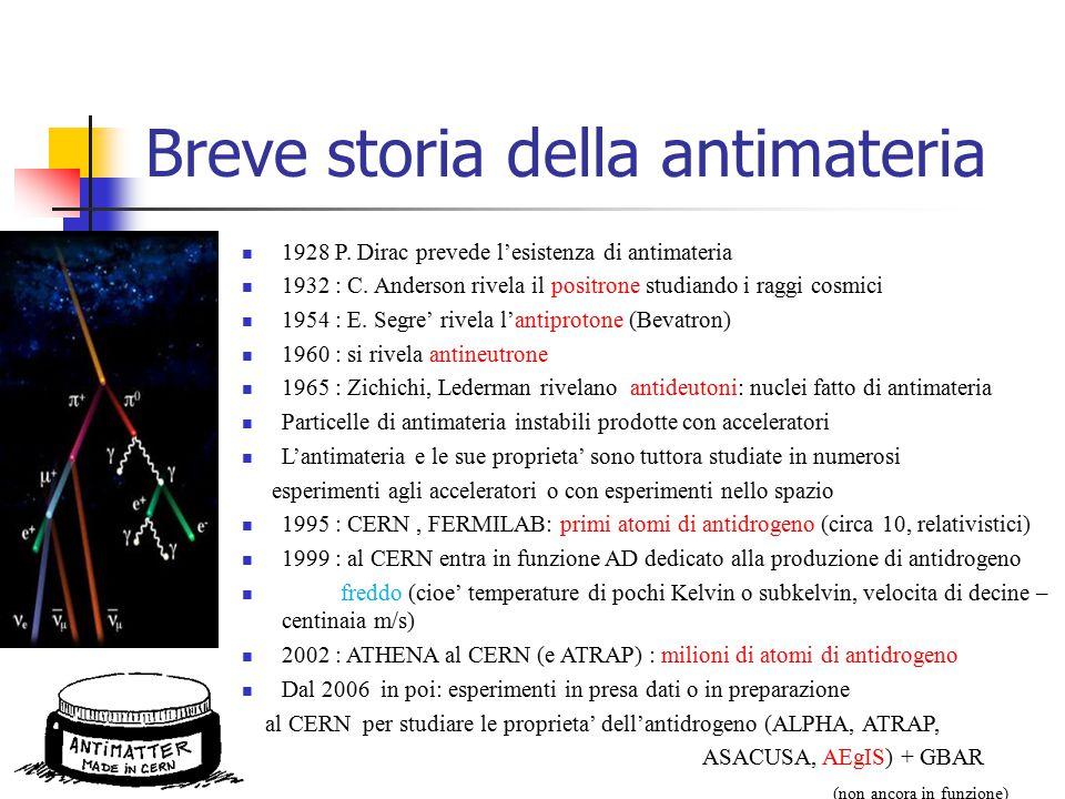 Breve storia della antimateria 1928 P. Dirac prevede l'esistenza di antimateria 1932 : C. Anderson rivela il positrone studiando i raggi cosmici 1954