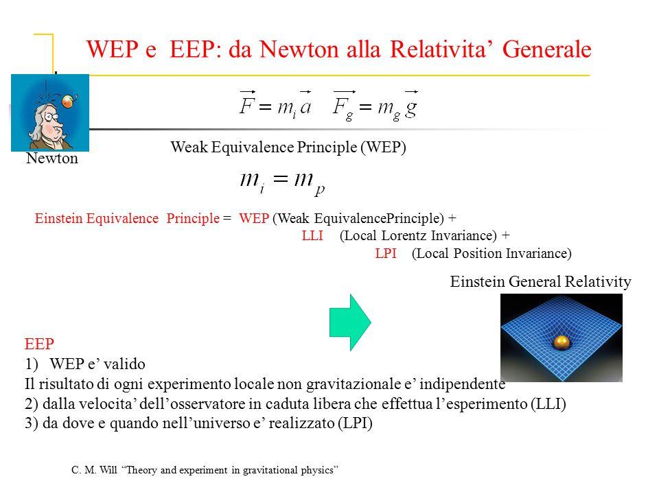 WEP e EEP: da Newton alla Relativita' Generale Newton Weak Equivalence Principle (WEP) EEP 1)WEP e' valido Il risultato di ogni experimento locale non
