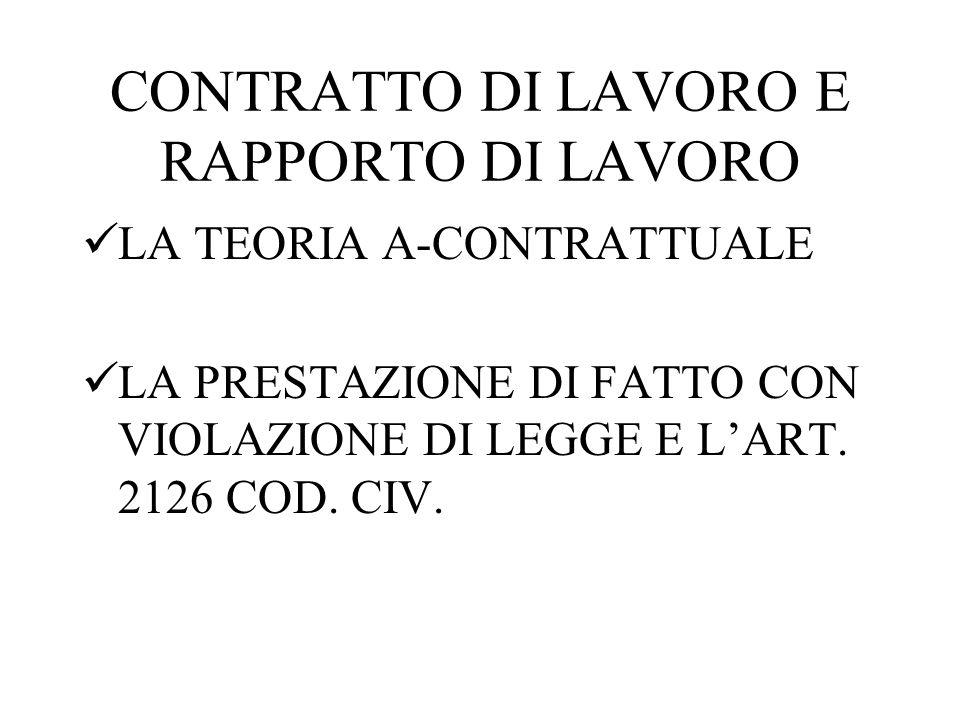 CONTRATTO DI LAVORO E RAPPORTO DI LAVORO LA TEORIA A-CONTRATTUALE LA PRESTAZIONE DI FATTO CON VIOLAZIONE DI LEGGE E L'ART. 2126 COD. CIV.