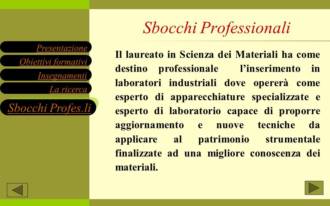 Il laureato in Scienza dei Materiali ha come destino professionale l'inserimento in laboratori industriali dove opererà come esperto di apparecchiatur